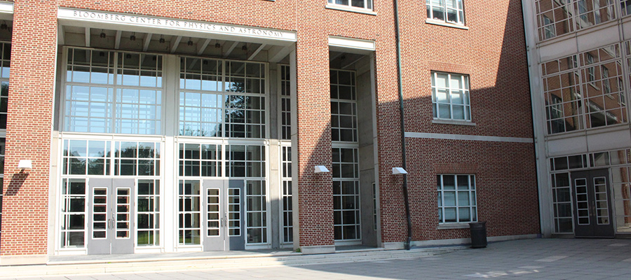 front of bloomberg hall