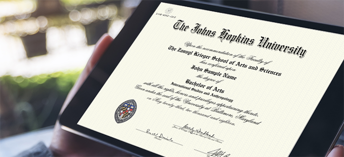 Tablet displaying digital JHU diploma