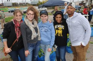 Baltimore college students at a farmers market in the city.