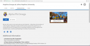screenshot of how to join a student organization in HopkinsGroups