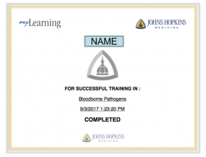picture of JHU myLearning Bloodborne Pathogen training certficate