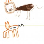 A child's crayon drawing of 2 animals.