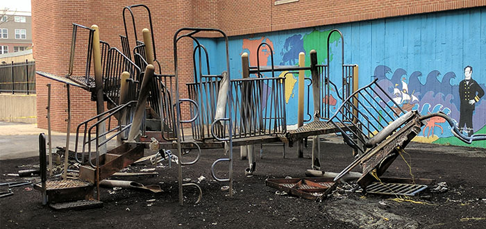 photo of Commodore John Rogers School playground after fire summer 2017