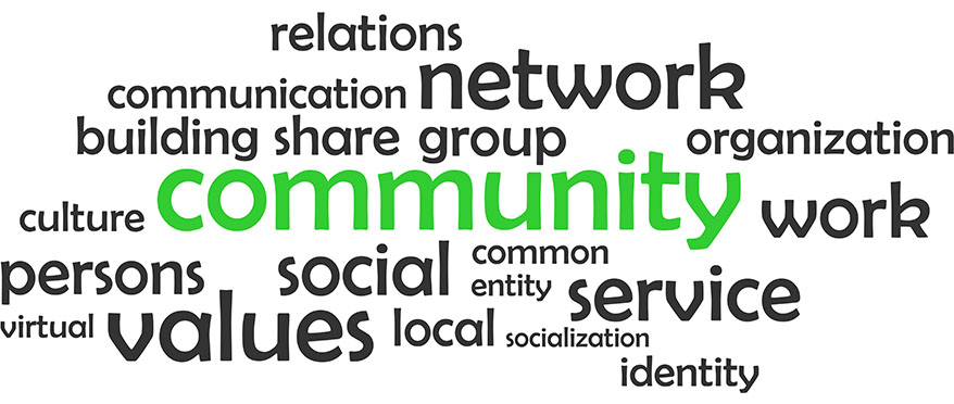 photo of words related to community