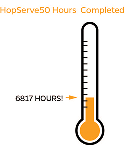 graphic of a thermometer and 6817 service hours completed