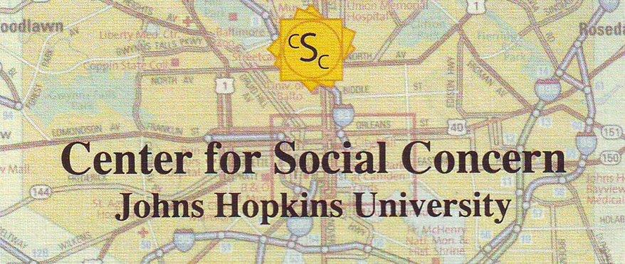 Center for Social Concern written over a background of a city map.