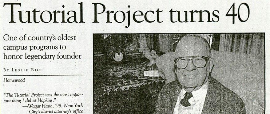 "A clipping from a newspaper article that reads, ""Tutorial Project turns 40""."