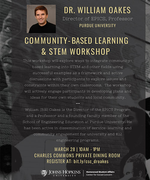 community based learning flyer with Dr. William Oakes presenting STEM workshop on March 28, 2017.