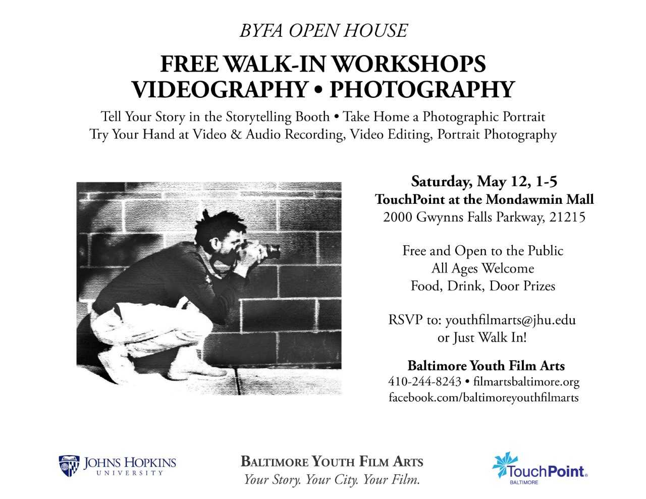 Baltimore Youth Film Arts Open House flyer