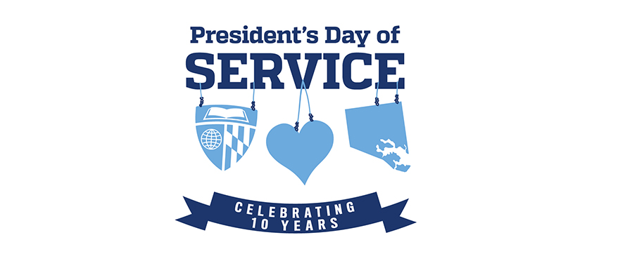 picture of JHU President's Day of Service 2018 logo celebrating 10 years