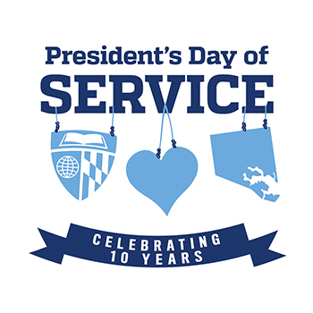 picture of JHU President's Day of Service logo celebating 10 years