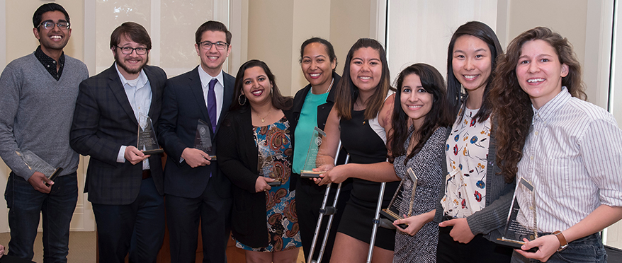 pics of JHU students and staff at leadership awards ceremony