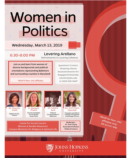 jhu event, women in politics flyer for March 13
