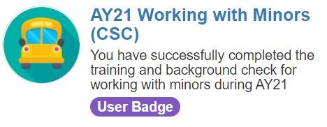 picture of working with minors badge from Hopkins Groups
