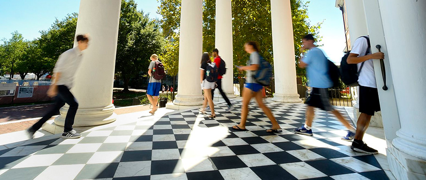 Students walking in front of Gilman Hall