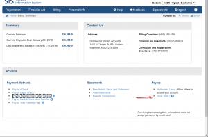 Screenshot of SIS billing dashboard