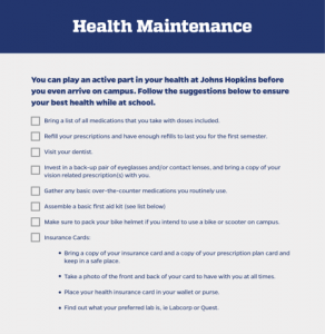 Health checklist for incoming students
