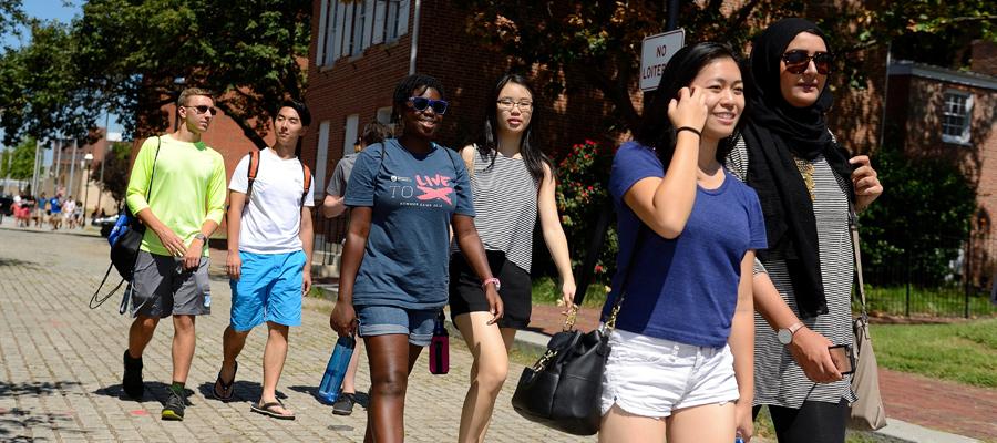 Students walking in Baltimore