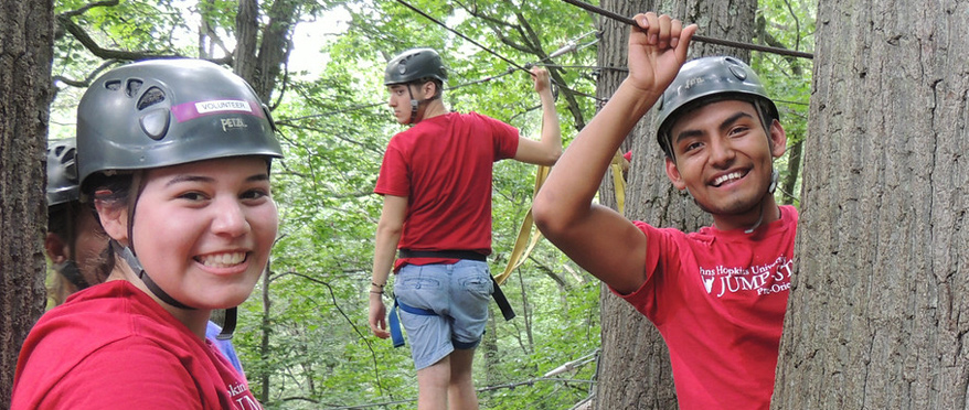 Students on ropes course