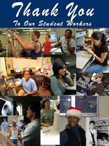"Flyer that reads ""Thank you to our student workers"" and features photos of various student workers"