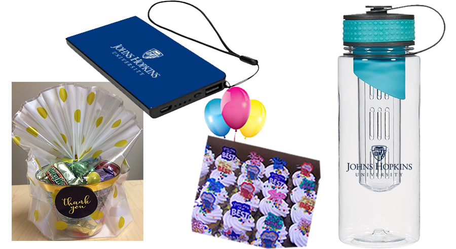 Gifts for students, including a thumb drive, balloons, cupcakes, candy, and a water bottle