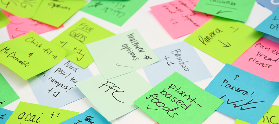 Close up of written ideas on sticky notes.