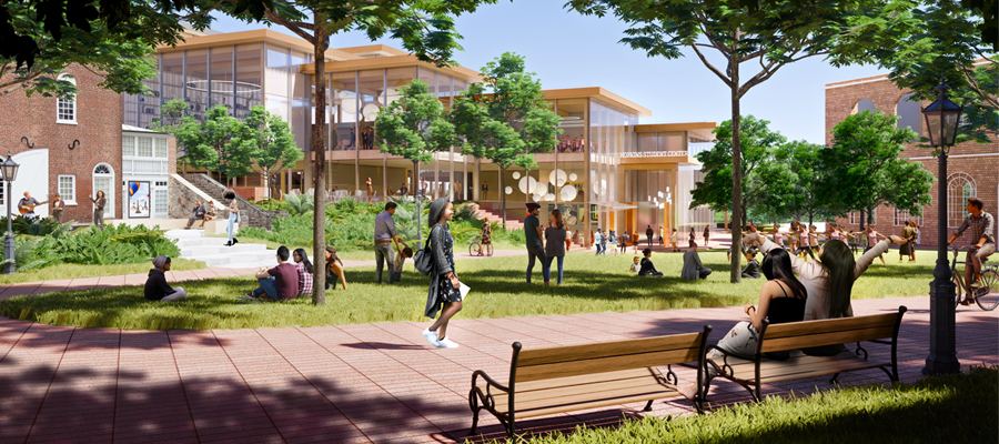 External view of proposed Student Center design.
