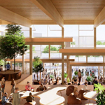 Interior rendering of the Student Center with students walking through a sunlit atrium.